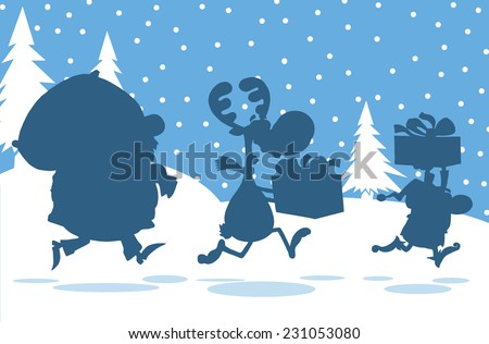 Santa Claus,Reindeer And Elf Running In Christmas Night  Silhouettes Design Card. Vector Illustration  - stock vector