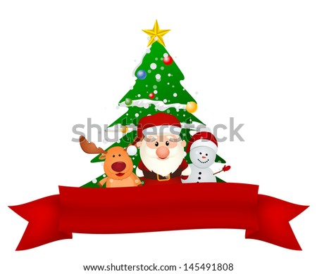 santa claus, reindeer and snowman with christmas tree and red ribbon - stock vector