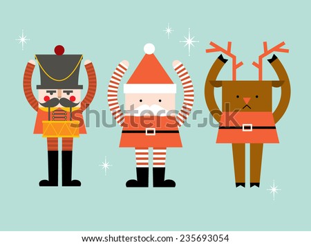 santa claus/reindeer/nutcracker vector/illustration - stock vector