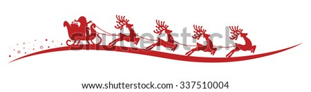 Santa Claus reindeer sleigh isolated background - stock vector