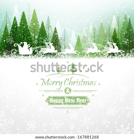 Santa Claus rides in a reindeer sleigh - stock vector