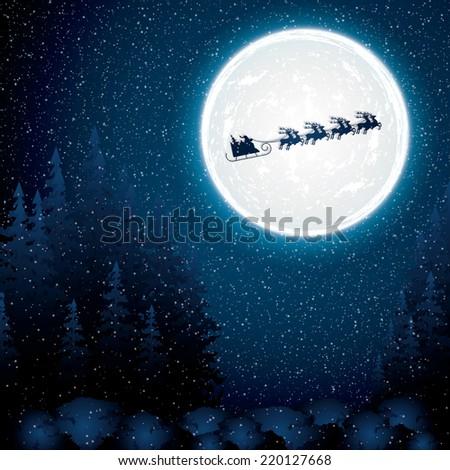 Santa Claus rides in a reindeer sleigh.Vector - stock vector