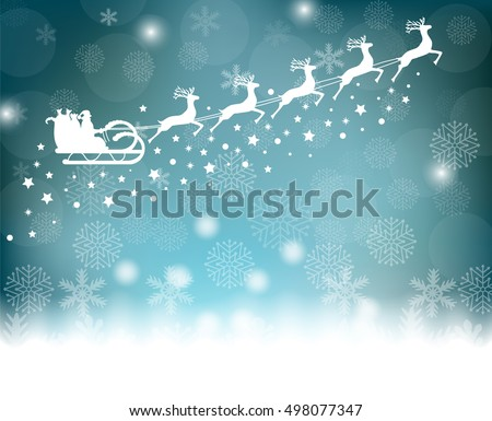 Santa Claus rides in a sleigh in harness on the reindeer on background with snowflakes and glitter