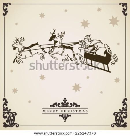 Santa Claus rides in a sleigh vector illustration. Christmas card vintage decorative design. - stock vector