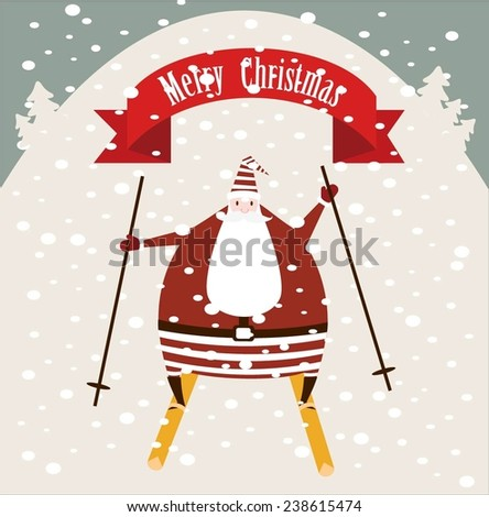 Santa Claus rides with mountains on skis and wishes Merry Christmas illustrations - stock vector