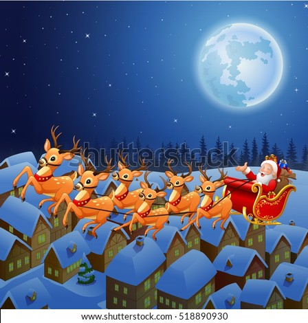 Santa Flying His Sleigh Stock Images Royalty Free Images