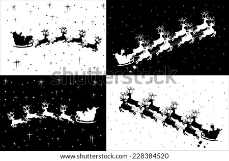 Santa Claus riding in a sledge - stock vector
