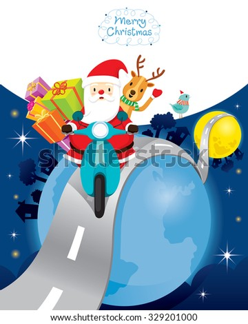 Santa Claus Riding Motorcycle With Reindeer On The Earth, Merry Christmas, Xmas, Happy New Year, Objects, Animals, Festive, Celebrations - stock vector