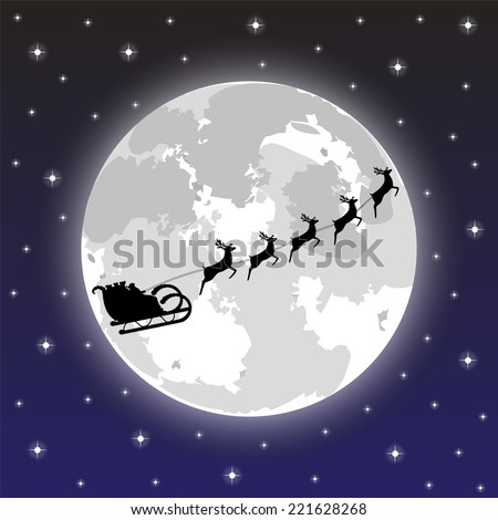 Santa Claus riding on a reindeer on a background of the full moon - stock vector