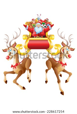 Santa Claus riding sleigh full of toys with two reindeer isolated - stock vector