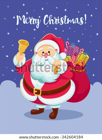 Santa Claus rings the bell - stock vector