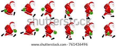 Santa Claus Run Cycle Running Christmas Stock Vector ...