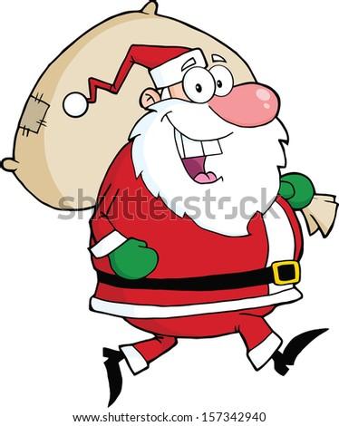 Santa Claus Running With Bag - stock vector