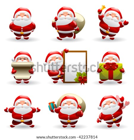 santa claus set - stock vector