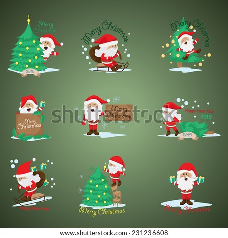 Santa Claus Set - Isolated On Background - Vector Illustration, Graphic Design Editable For Your Design  - stock vector