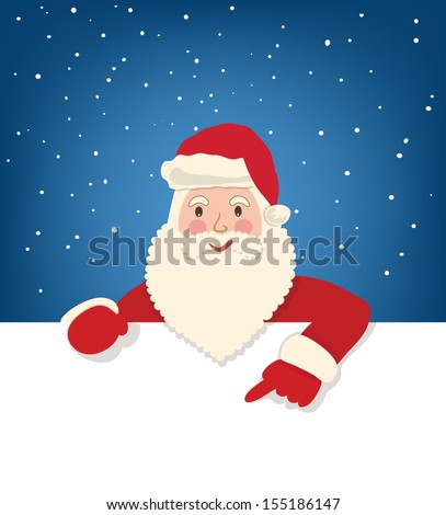 Santa Claus show on the white page on star sky background