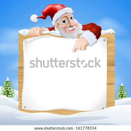 Santa Claus sign winter scene with cartoon Santa pointing down at snow covered sign - stock vector