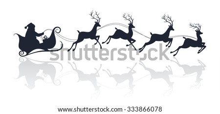 Santa Claus silhouette riding a sleigh with deers. Vector illustration - stock vector