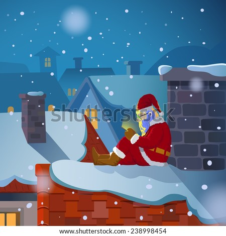 Santa claus sit on the roof chatting on his mobile phone in snowy christmas night - stock vector