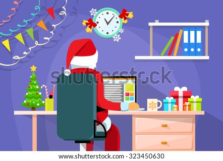 Santa Claus Sitting Desk Using Laptop Internet Back Rear View Christmas Holiday Flat Vector Illustration - stock vector