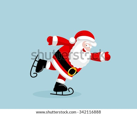 Santa Claus skating. Vector illustration. EPS 8. No transparency. No gradients. - stock vector