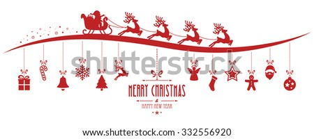 santa claus sleigh christmas elements hanging gred isolated background - stock vector