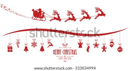 santa claus sleigh christmas elements hanging red isolated background - stock vector