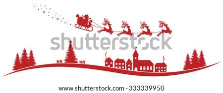 santa claus sleigh reindeer fly red landscape - stock vector