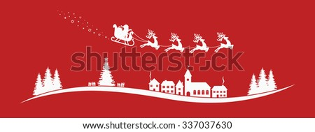 santa claus sleigh reindeer fly red landscape - stock vector