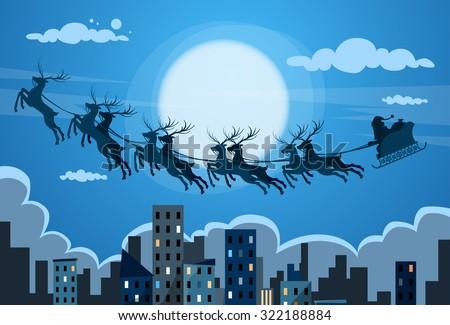 Santa Claus Sleigh Reindeer Fly Sky over City Skyscraper Night View Cityscape Snow Skyline Christmas New Year Card Vector Illustration - stock vector