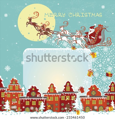Santa Claus sleigh with reindeer fly over the city and throws gifts on the background of the moon . New year,Christmas Greeting card,invitation,background in square.Room for text - stock vector