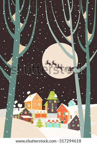 Santa Claus sleigh with reindeer fly over the city and throws gifts on the background of the moon. Vector greeting card - stock vector
