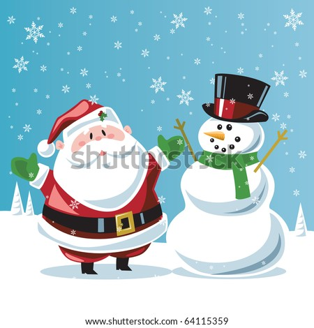 Santa Claus & snowman - stock vector