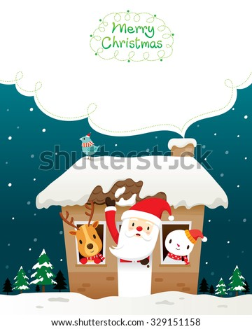 Santa Claus, Snowman And Animals In House, Merry Christmas, Xmas, Happy New Year, Objects, Festive, Celebrations - stock vector