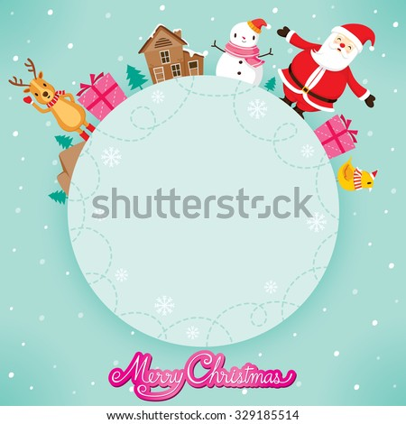 Santa Claus, Snowman And Reindeer On Circle Frame, Merry Christmas, Xmas, Happy New Year, Objects, Animals, Festive, Celebrations - stock vector