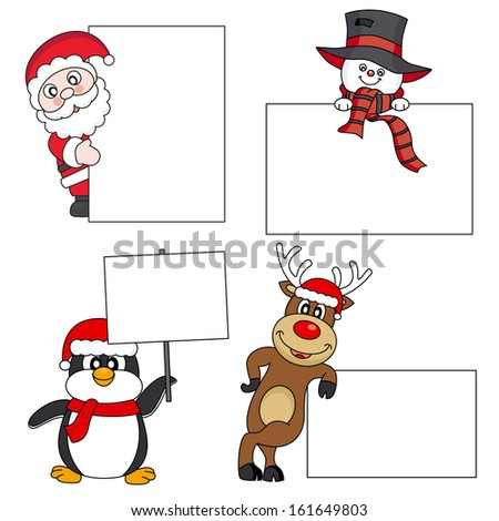 Santa Claus, snowman, reindeer, penguin with a poster. Space for text or photo