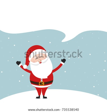 Santa claus speech bubble empty blank space snow landscape background