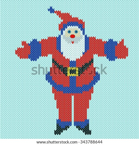 Santa Claus standing with outstretched arms widely on a blue background, knitting vector pattern - stock vector