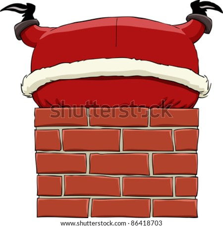 Santa Claus stuck in chimney, vector illustration - stock vector