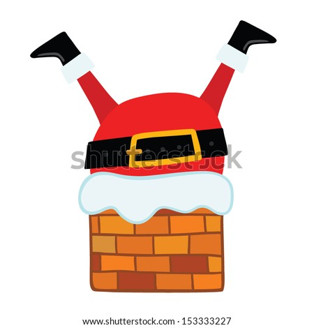 Santa Claus stuck in the Chimney. Christmas background