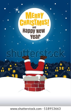 Santa Claus Stuck In The Chimney On Snow Roof with Moon. Christmas Cartoon Vector Illustration.