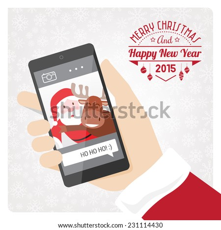 Santa claus taking a selfie with a reindeer using a smartphone. - stock vector
