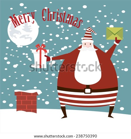 Santa Claus throws smoker gift and wished Merry Christmas illustrations - stock vector