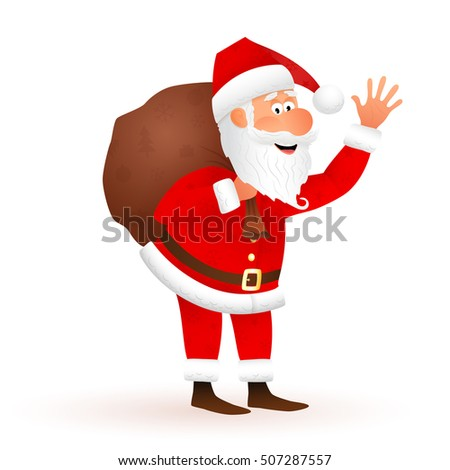 Santa Claus vector cartoon illustration. Flat funny old man character carrying sack with gifts, waving hand isolated on white background. Christmas decoration design.