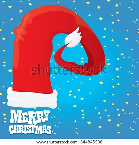 Santa Claus vector hat. merry christmas card or xmas background with stars . vector illustration - stock vector