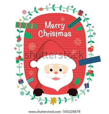 Santa Claus. Vector illustration for christmas card. background