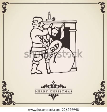 Santa Claus vintage christmas card vector.  Santa Claus bringing gifts at fireplace illustration isolated on decorative bordered paper. - stock vector