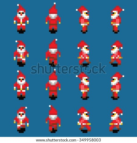 Santa Claus walk animation cycle, four directions, retro video game pixel style