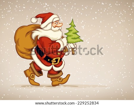 Santa claus walking with sack of gifts and firtree in his hand over snow background. Eps10 vector illustration - stock vector