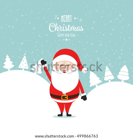 santa claus wave happy snow winter landscape
